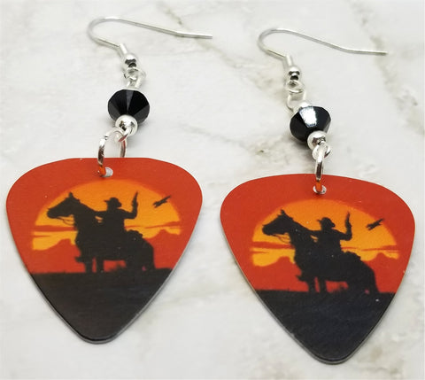 Cowboy on a Horse Guitar Pick Earrings with Black Swarovski Crystals