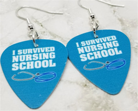 I Survived Nursing School Guitar Pick Earrings