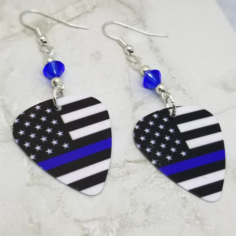 American Flag with Blue Line Police Support Guitar Pick Earrings with Capri Blue Swarovski Crystals