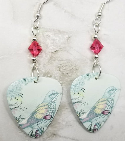 Song Bird Guitar Pick Earrings with Pink Swarovski Crystals