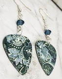 Blue Flowery Pattern Guitar Pick Earrings with Blue Swarovski Crystals