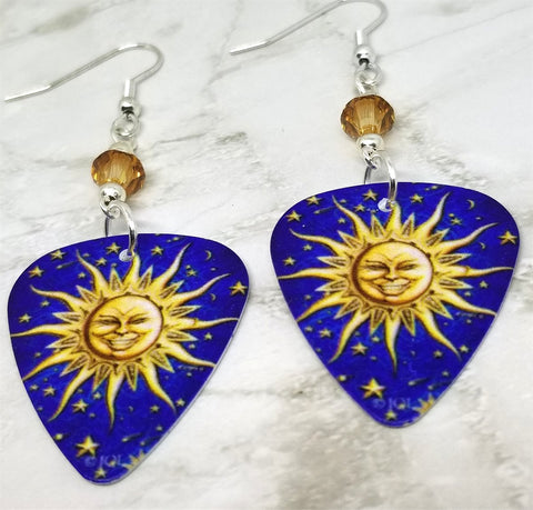 Sun and Stars Guitar Pick Earrings with Gold Swarovski Crystals