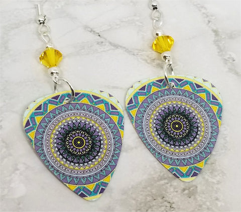 Yellow and Blue Mandala Guitar Pick Earrings with Yellow Swarovski Crystals