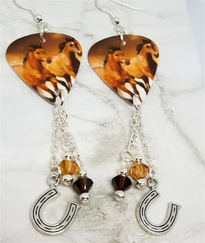Two Horses Guitar Pick Earrings with Swarovski Crystal and Horseshoe Charm Dangles