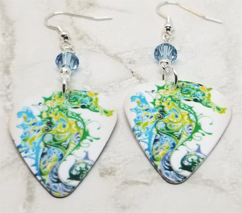 Blue and Green Seahorse Guitar Pick Earrings with Blue Swarovski Crystals