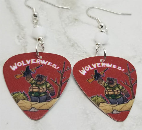 Red Dawn Wolverines Spoof Guitar Pick Earrings with White Swarovski Crystals