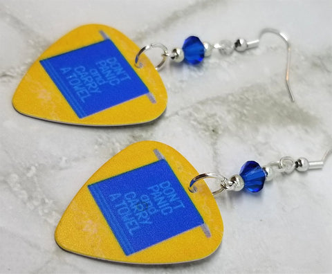 Don't Panic and Carry a Towel Guitar Pick Earrings with Blue Swarovski Crystals