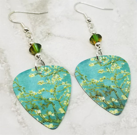 Van Gogh Branches with Almond Blossom Guitar Pick Earrings with Swarovski Crystals
