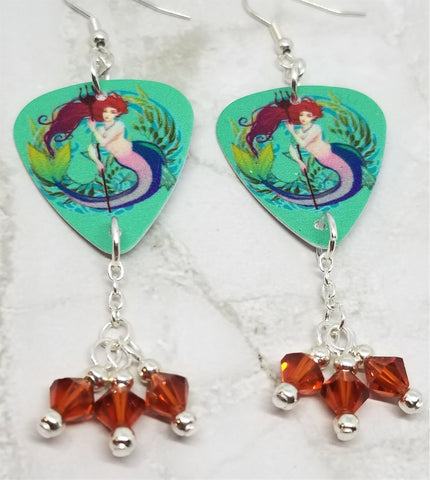 Mermaid with Trident Guitar Pick Earrings with Indian Red Swarovski Crystal Dangles