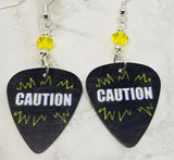 Caution Guitar Pick Earrings with Yellow Swarovski Crystals