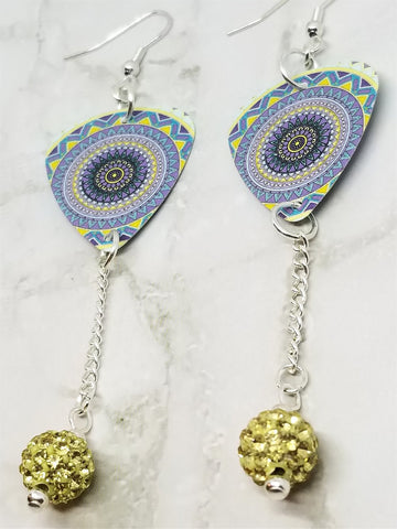Mandala Guitar Pick Earrings with Pale Yellow Pave Bead Dangles