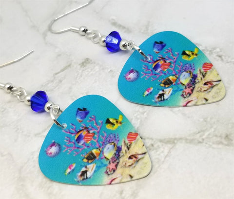 Under The Sea Guitar Pick Earrings with Blue Swarovski Crystals