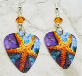 Vibrant Starfish Scene Guitar Pick Earrings with Orange Swarovski Crystals
