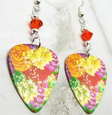 Beautifully Flowered Guitar Pick Earrings with Hyacinth Swarovski Crystals