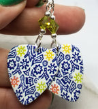 Blue Patterned Guitar Pick Earrings with Green Swarovski Crystals