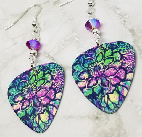 Colorful Flowered Guitar Pick Earrings with Fuchsia ABx2 Swarovski Crystals