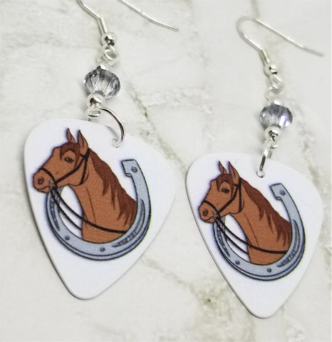 Horse and Horseshoe Guitar Pick Earrings with Metallic Silver Swarovski Crystals
