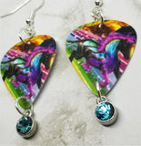 Colorful Horse Guitar Pick Earrings with Aqua Blue Crystal Charms