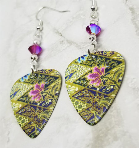 Flowered Guitar Pick Earrings with Fuchsia ABx2 Swarovski Crystals