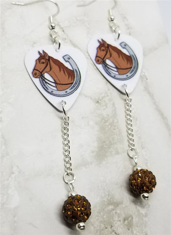 Horse and Horseshoe Guitar Pick Earrings with Brown Pave Bead Dangles