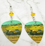 Van Gogh The Harvest Guitar Pick Earrings with Yellow AB Swarovski Crystals