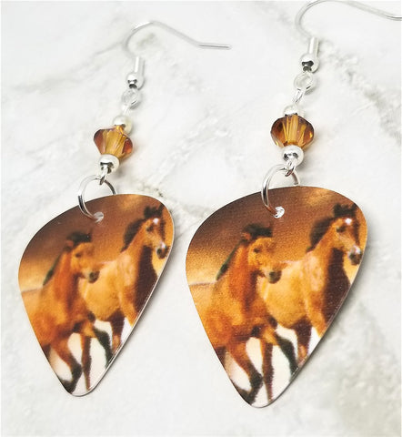 Two Horses Guitar Pick Earrings with Crystal Copper Swarovski Crystals