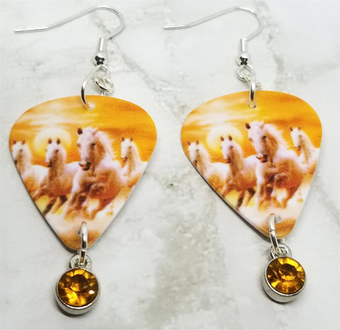 Wild Horses Guitar Pick Earrings with Orange Crystal Charm Dangles