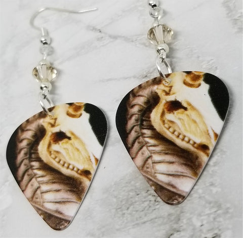 Skeletal Unicorn Guitar Pick Earrings with Silk Swarovski Crystals