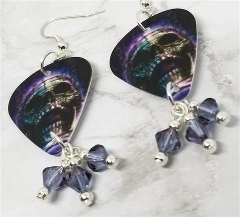 Skull Guitar Pick Earrings with Purple Swarovski Crystal Dangles