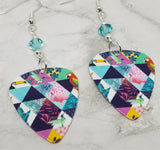 Tropical Birds Guitar Pick Earrings with Aquamarine Swarovski Crystals