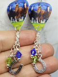 Running Horses Guitar Pick Earrings with Swarovski Crystal and Horseshoe Charm Dangles