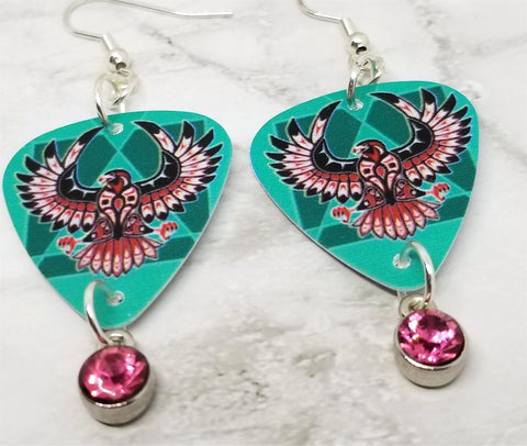 Thunderbird Guitar Pick Earrings with Pink Crystal Charm Dangles