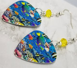 Under The Sea Tropical Fish Guitar Pick Earrings with Yellow Swarovski Crystals