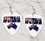 Australian Flag Forming Continent and Word Guitar Pick Earrings
