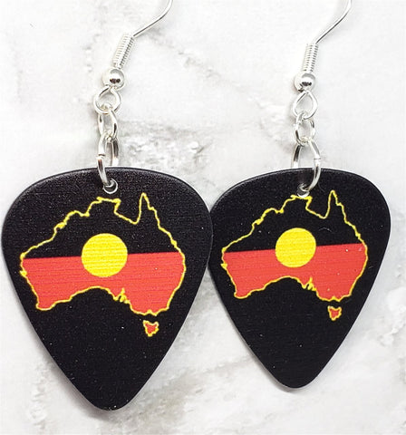 Australian Shaped Aboriginal Flag Guitar Pick Earrings