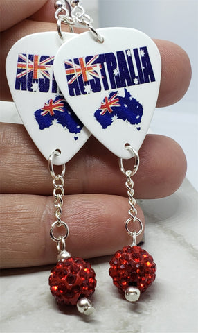 Australian Flag Forming Continent and Word Guitar Pick Earrings with Red Pave Bead Dangles