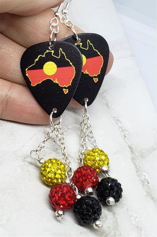 Australian Shaped Aboriginal Flag Guitar Pick Earrings with Pave Bead Dangles