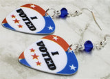 I Voted Guitar Pick Earrings with Blue Swarovski Crystals
