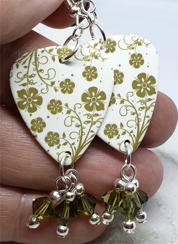 Green Flowered Guitar Pick Earrings with Khaki Swarovski Crystal Dangles