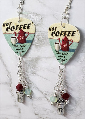 Hot Coffee The Best Drink of All Guitar Pick Earrings with Coffee Cup Charm and Swarovski Crystal Dangles