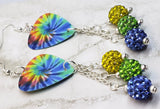 Colorful Tie Dye Swirl Guitar Pick Earrings with Pave Bead Dangles