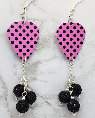 Black Polka Dots on a Pink Guitar Pick with Black Pave Bead Dangles