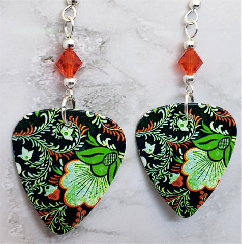 Black, Green and Orange Flowered Guitar Pick Earrings with Swarovski Crystals