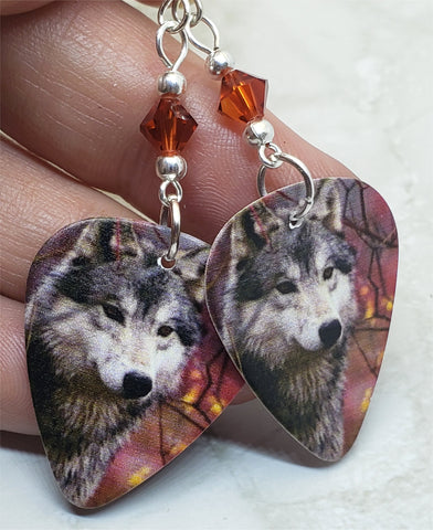 Wolf Guitar Pick Earrings with Indian Red Swarovski Crystals