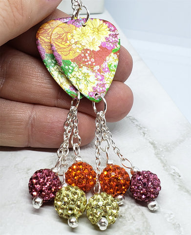 Beautiful Peonies Guitar Pick Earrings with Pave Bead Dangles