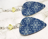Blue and Pale Yellow Patterned Guitar Pick Earrings with Pale Yellow Swarovski Crystals