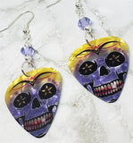 Purple and Yellow Skull Guitar Pick Earrings with Purple Swarovski Crystals