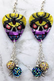 Skull and Spider Guitar Pick Earrings with Spider Charm and Pave Bead Dangles