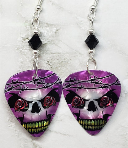 Skull with Barbed Wire Guitar Pick Earrings with Black Swarovski Crystals