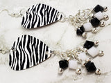 Zebra Print Guitar Pick Earrings with Black and White Swarovski Crystal Dangles